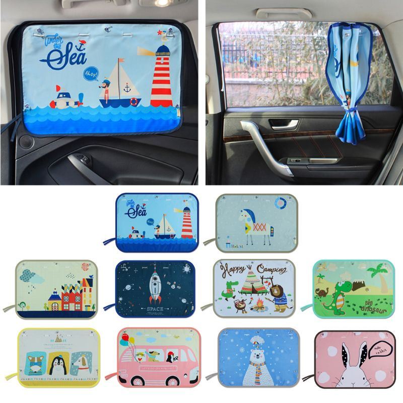 70*50CM parasol de ventana lateral de coche para niños cortina de dibujos animados visera de sol cortina de protección UV para niños coches de niños cubierta lateral trasera