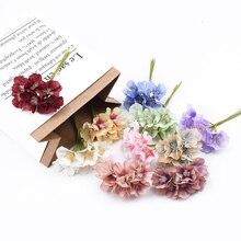Couronne de fleurs de prunier en soie 6 pièces   Couronne décorative bon marché, faux floristique, broderie scrapbook, décoration de maison, boîte de cadeaux artificiels en bricolage
