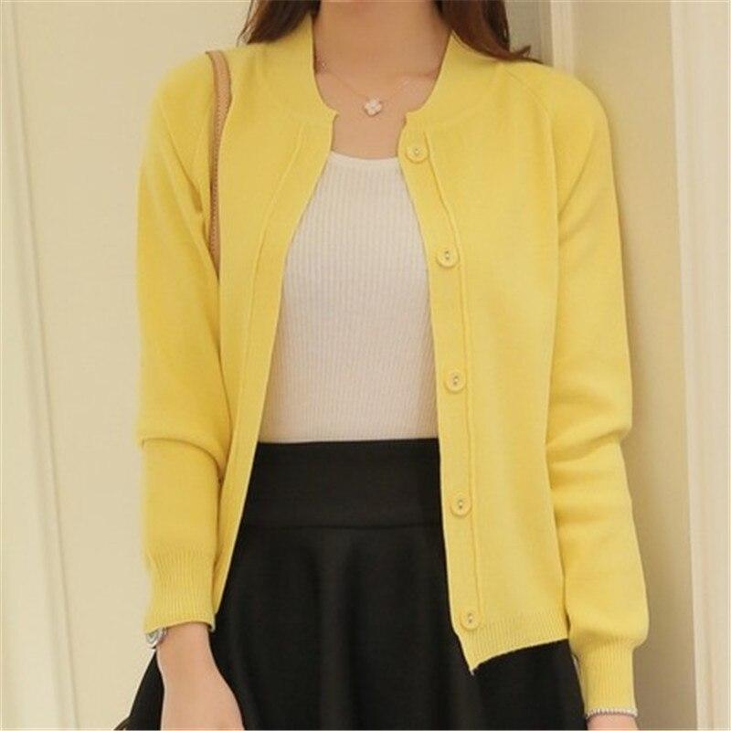 ¡Novedad de primavera y verano del 2018! Cárdigan de Color caramelo para mujer, suéter, cárdigan tejido de manga larga, abrigos tejidos rosas/amarillas para mujer ZY1450