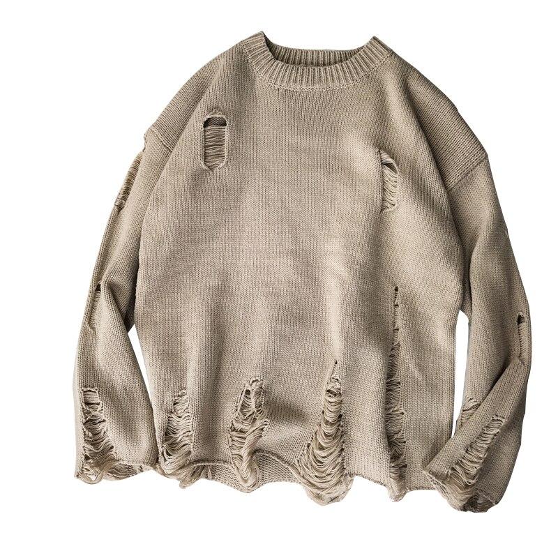 Rlyaeiz marca nova camisola masculina 2018 outono inverno pulôver moda masculina buraco oco solto malha sueter hombre