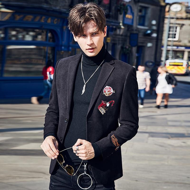 Chaqueta de traje negro con abertura 3XL informal superfino para hombre primavera otoño 2018 de alta calidad