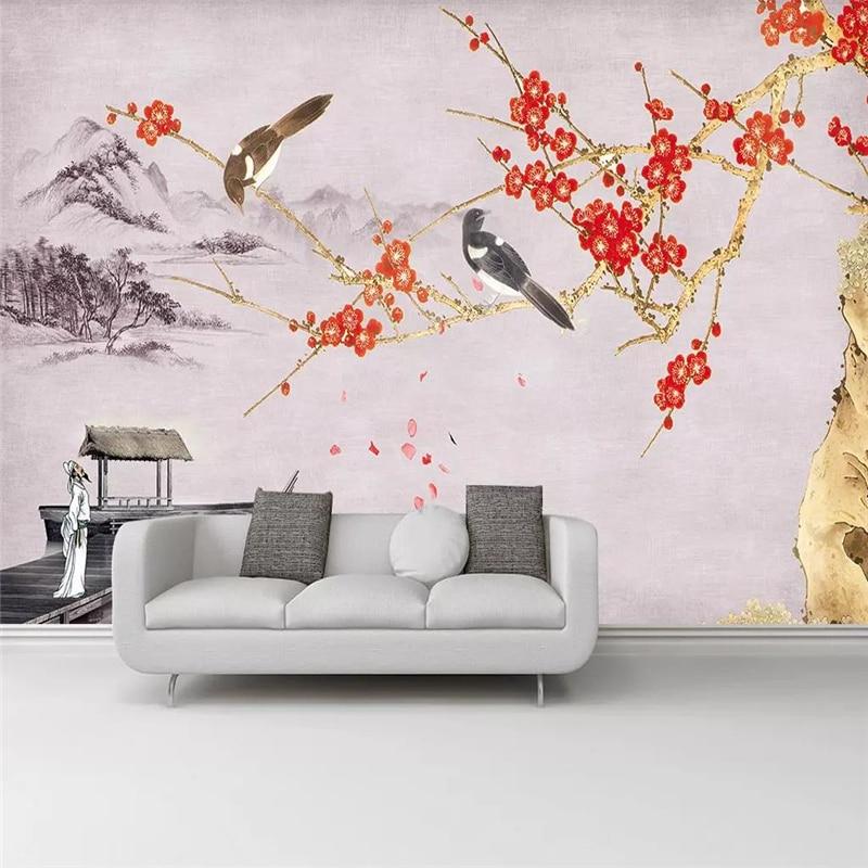 Custom 3d wallpaper Chinese plum landscape living room TV background wall home decoration high-grade waterproof material недорого