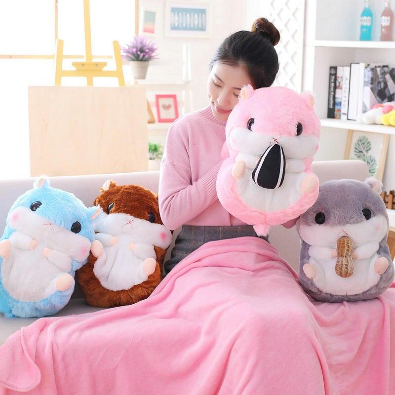 Kawaii trzy w jednej ręce ciepły koc chomika lody pluszowe lalki wypchanych zwierząt miękkie poduszki dla dzieci zabawki dla dzieci prezenty urodzinowe dla dziecka