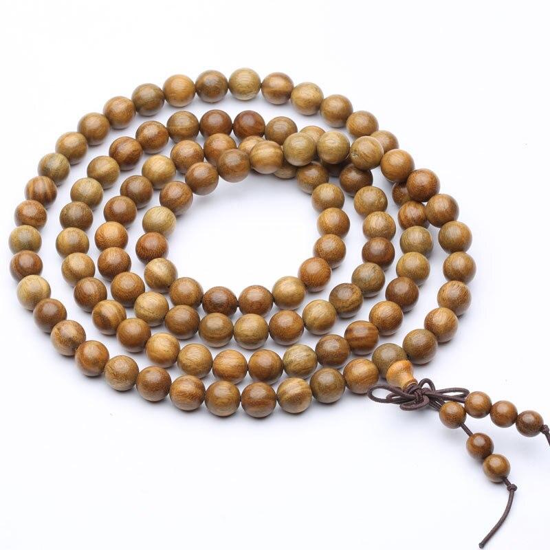 Cuentas de madera natural de sándalo verde 0,8 0,6 cm 108 pulseras de Buda para Mujeres Hombres brazalete largo joyería de Buda de religión regalo Zen