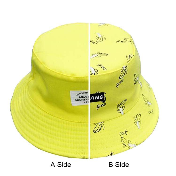 New Unisex Fashion Cap Lovers Women's Panama Hats Banana Pattern Summer Cotton Bucket Hats Female Men Sad Boy Beach Caps Black