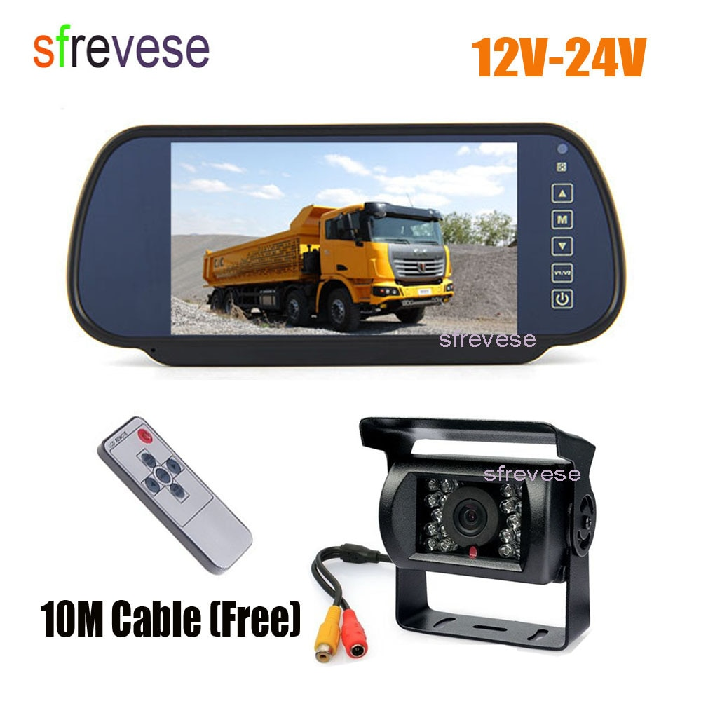 "7"" Vehicle Mirror Monitor Car Rearview Kit + Waterproof 18 IR Night Vision Car Reverse Parking Backup Camera 10m Cable 12V-24V"