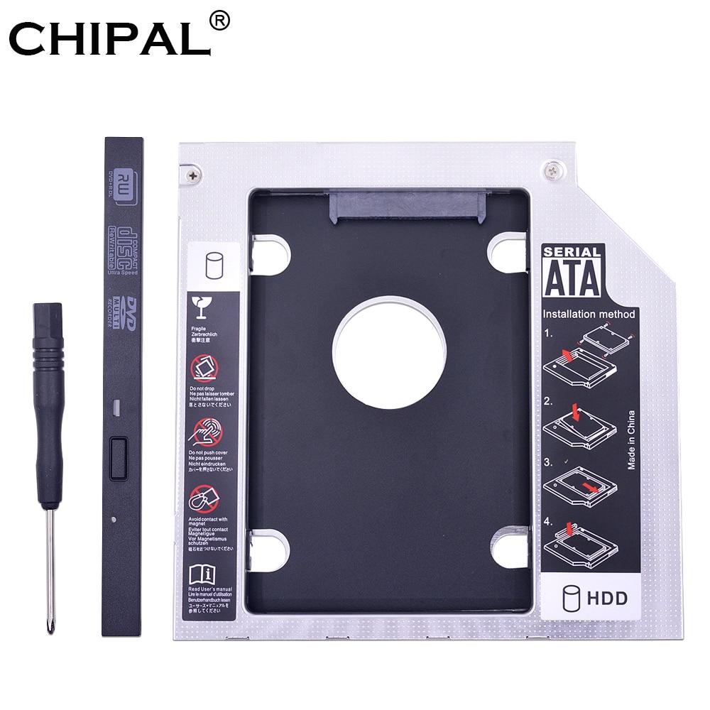 "CHIPA aluminio Universal 2nd HDD Caddy 9,5mm SATA 3,0 de doble LED para disco duro SSD 2,5 ""carcasa para portátil CD-ROM Optibay"