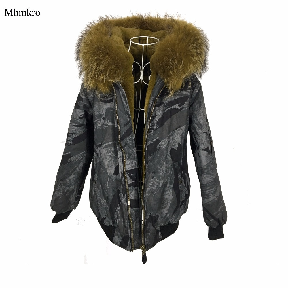 Chaqueta con estampado de camuflaje AW18 gris con forro de piel, chaqueta de invierno para mujer, Parka de Color amarillo, estilo de calidad superior