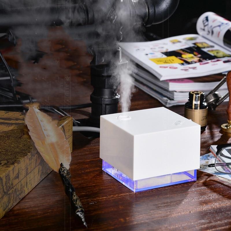 250 ml Ultrasonic Umidificador Forma de Cubo de Água LEVOU Luz Azul Noite Lâmpada Aroma Essencial Difusor de Aromaterapia Purificador de Ar