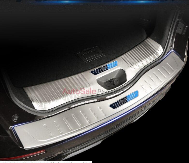 Para Renault Koleos 2017 Logotipo de acero inoxidable maletero trasero interior y exterior parachoques protector alféizar Fundas protectoras 2 uds