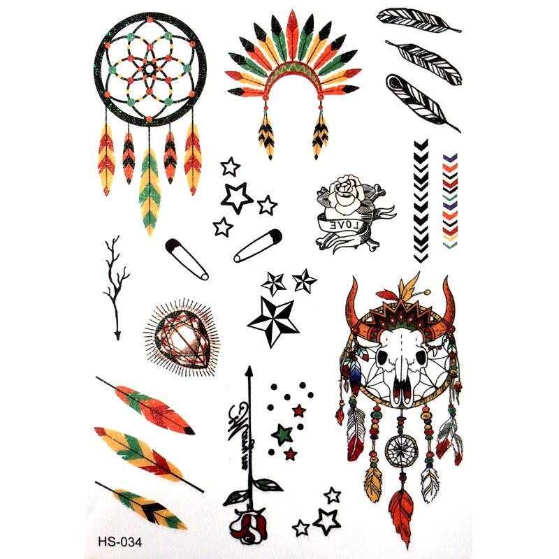3 uds, atrapasueños, tatuajes Temporales impermeables para hombres, harajuku, indio, halcón, pluma, corona, Flash, polvo dorado, tatuaje, tatuaje