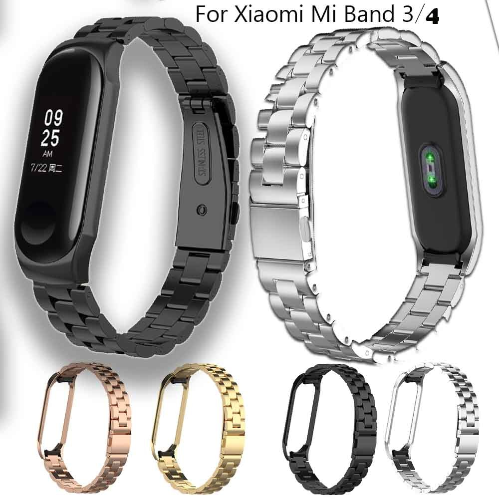 Correa de reloj de acero inoxidable para Xiaomi mi Band 3 pulsera inteligente accesorios para Xiaomi mi Band 4 cinturón deportivo + caja de Metal