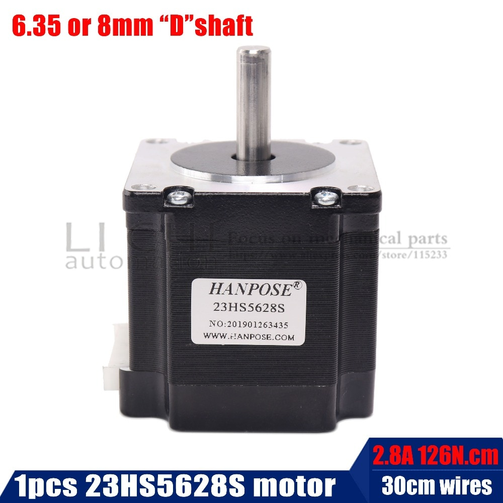 23HS5628S Nema 23 Motor de pasos 57 motor 4-plomo 165 Oz-en 56mm 2.8A 6,35mm/8mm diame láser CNC molienda de espuma de corte de Plasma