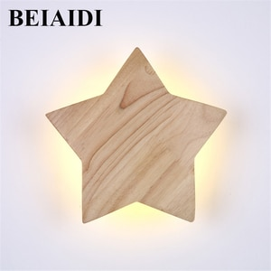 BEIAIDI Modern Solid Wood LED Wall Lamp Star Shape Bedside Wall Light DIY Combination Bedroom Home Hotel Decor Lighting Fixtures