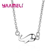 Cute Little Whale Pendant Necklaces Pure 925 Sterling Silver Metal Chokers Jewelry for Women Girls C