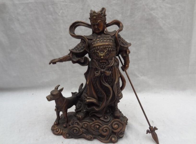 """Canción voge S2625 gem 8 """"Chinese Pure Bronze Dragon Head Sky Warrior Dios Erlang La Estatua de Perro Deificado"""