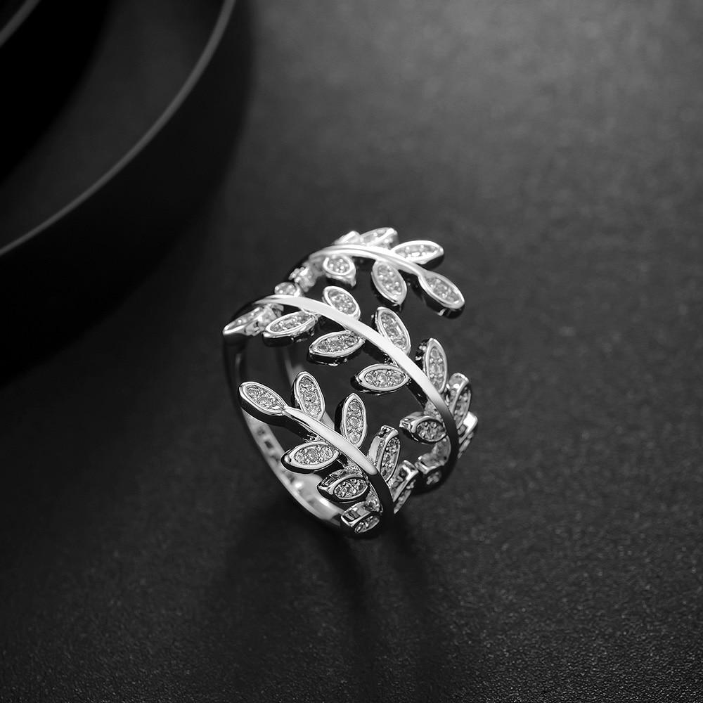 Anillos de hojas a la moda Viennois para mujer, anillos de fiesta de tamaño, joyería nupcial para boda, joyería de moda
