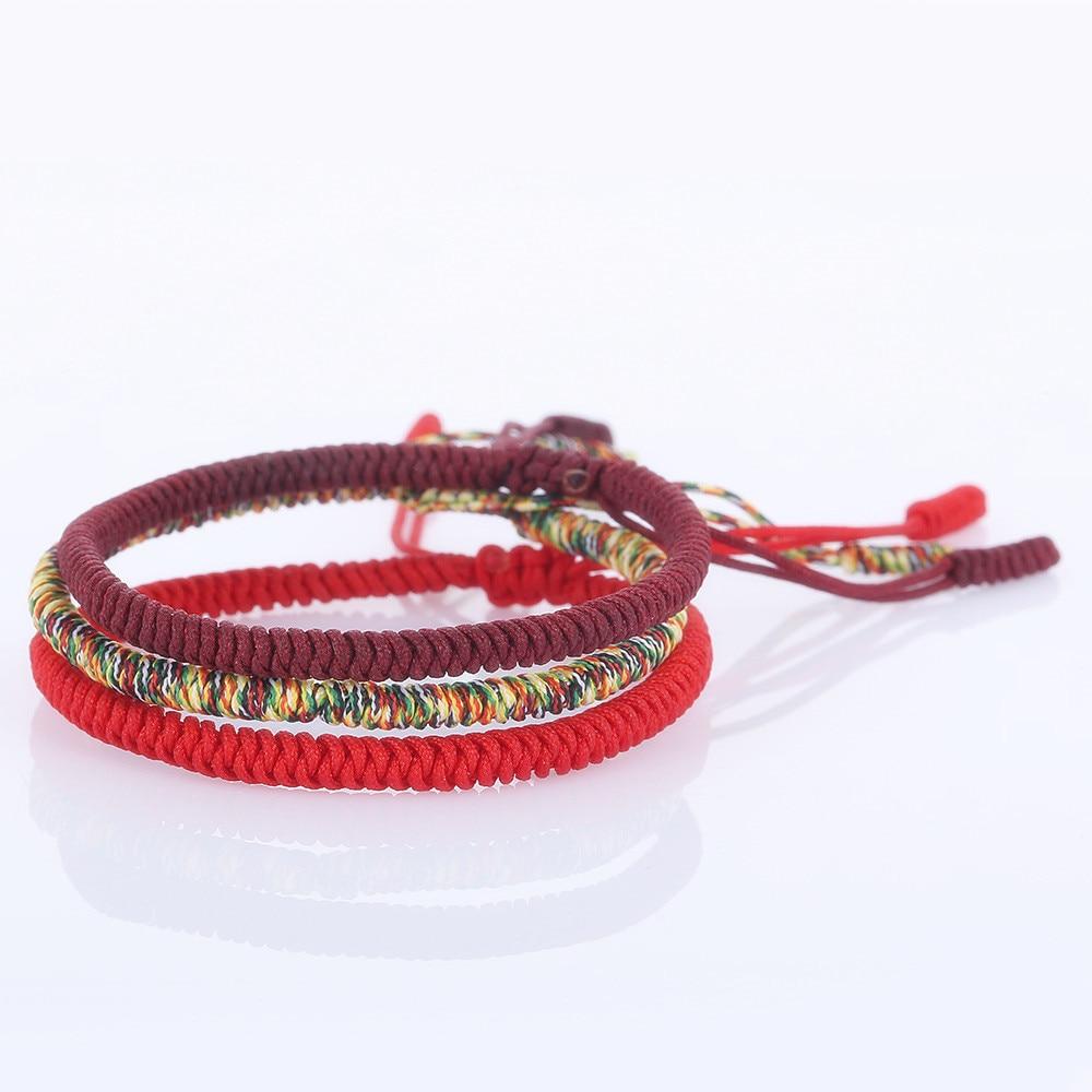Venda quente Handmade Sorte Corda Vermelha Corda Tibetano Budista Pulseiras & Bangles Mix cor Mulheres Homens Pulseira de Amuletos de Boa sorte