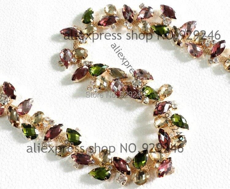 Adornos dorados de cadena de diamantes de imitación de resina marrón y rosa púrpura multicolor de 2,1 cm para el collar del vestido de pelo accesorios de costura para prendas