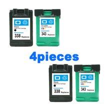2020 nouveau 4 pièces cartouches dencre compatibles pour HP 338 343 Deskjet 6540 6540 460c cfp 1510 1500 cartouche dimprimantes pour HP343 338