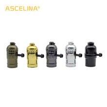 높은 품질 e27 빈티지 레트로 램프 기본 홀더 나사 전구 알루미늄 쉘 전구 빛 나사 소켓 4 색 스위치 110 v/220 v