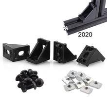 Juego de conectores de soporte de esquina de perfil de aluminio serie 2020 con tornillos y tuercas para ranura 6mm 20x20 accesorios de perfil de aluminio