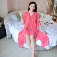 deep v neck women satin nightgown lace sleepwear half sleeve ladies silk nightwear sleep wear night gown dress outwear