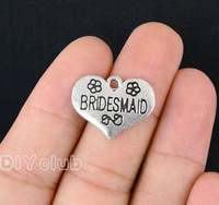 40pcs- Antique Silver Bridesmaid Heart Charms Pendant 2 Sided 21x16mm