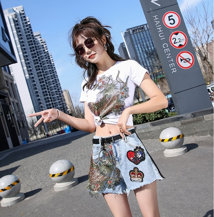 New Spring Summer Fashion Women's Sets Sequins Phoenix Short Sleeve Tshirts + Loose Wide Leg Denim Shorts Casual Students Suits