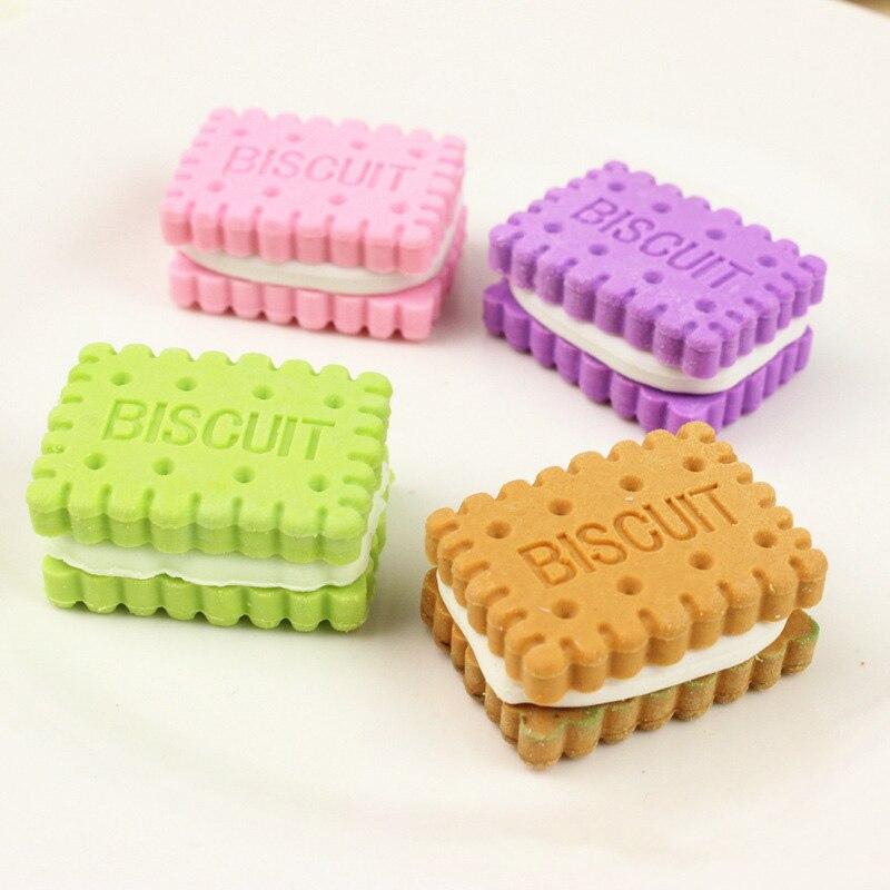 4 Pçs/lote Criativas Borrachas Coloridas Bonito Biscoitos Borrachas Correção Papelaria Kawaii Borracha Borrachas Para Crianças Presente Da Menina