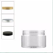 18 pcs/lot 100 ml clair pet pot avec couvercle en aluminium, pot en plastique, pot cosmétique, récipient en plastique, bouteille