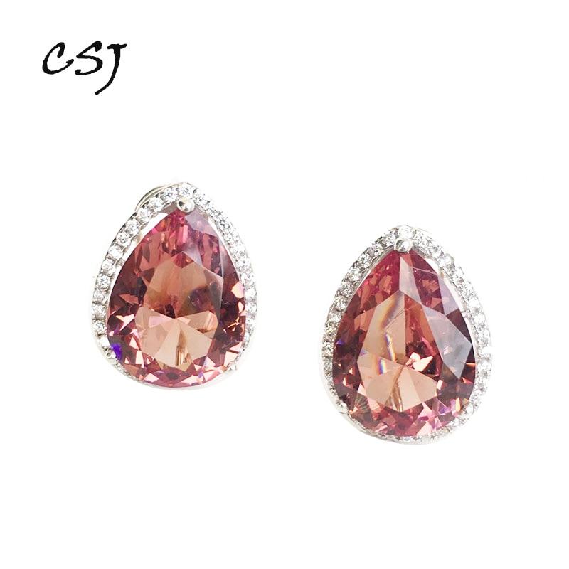 CSJ Big Stone 17CT Zultanite Earring Sterling 925 Silver Pr Cut 12*16MM Created Sultanite Fine Jewelry Women Wedding Party Gift