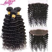 deep wave bundles with frontal closure human hair weave bundles with frontal non remy Brazilian hair bundles with lace closure