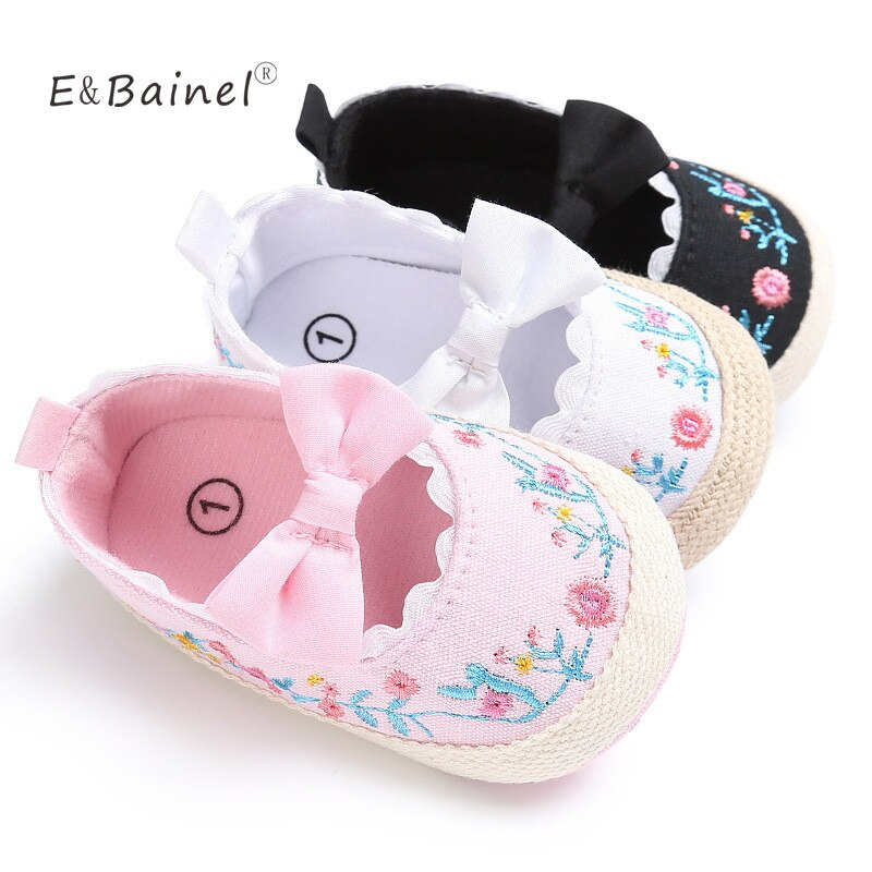 Newborn Baby Embroidered Flower Shoes Infant Girl Toddler Soft Bottom Baby Shoes Crib Shoes 0-18M Ba