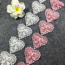 1/3/10 yardas de encaje hecho a mano remiendo de retales Material blanco rosa corazón encaje cinta costura de ropa DIY Accesorios
