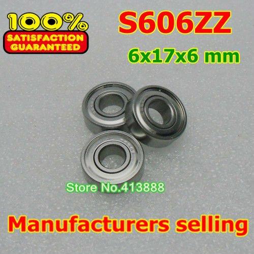 (1 piezas) SUS440C resistente a la corrosión ambiental de acero inoxidable rodamientos de bolas de ranura profunda S606ZZ 6*17*6mm