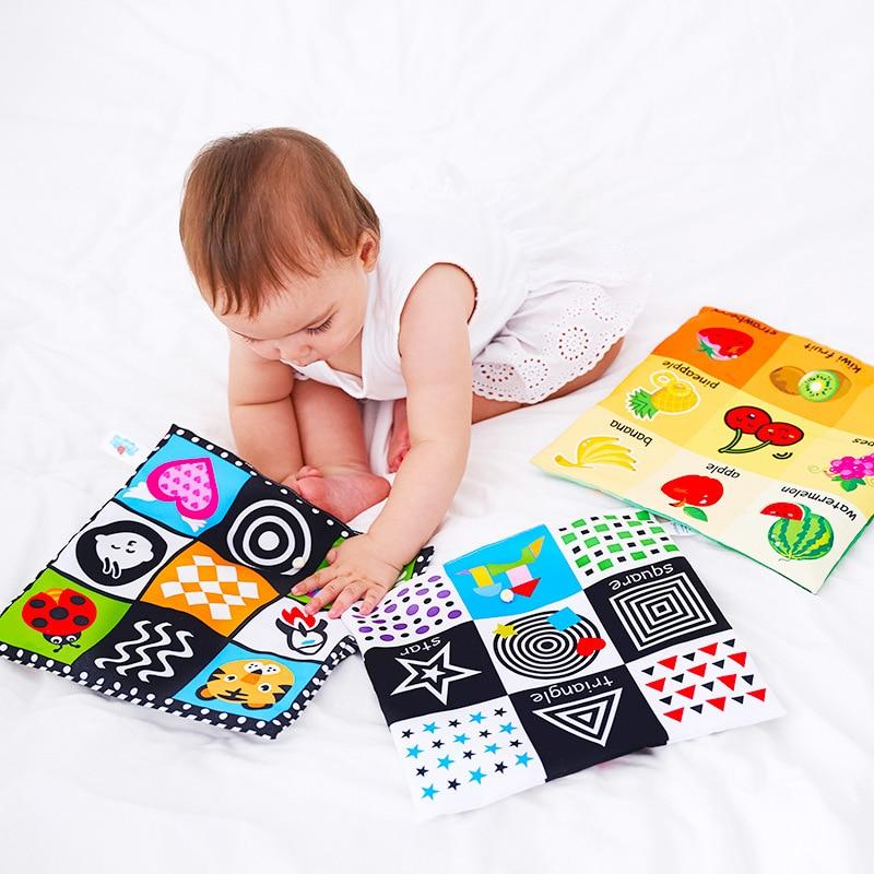 Детские игрушки от 0 до 12 месяцев, черно-белая книга из ткани, игрушки для новорожденных, Обучающие Игрушки для маленьких мальчиков