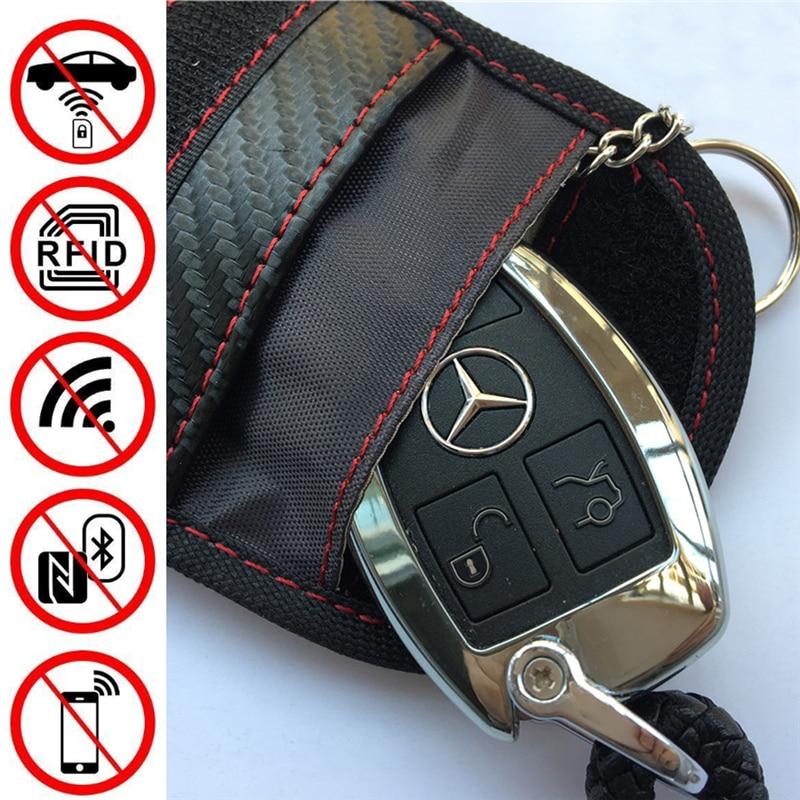 Funda de llave de entrada sin llave antirrobo RFID Bloqueo de radiación de señal Farady bolso cartera de la llave del coche