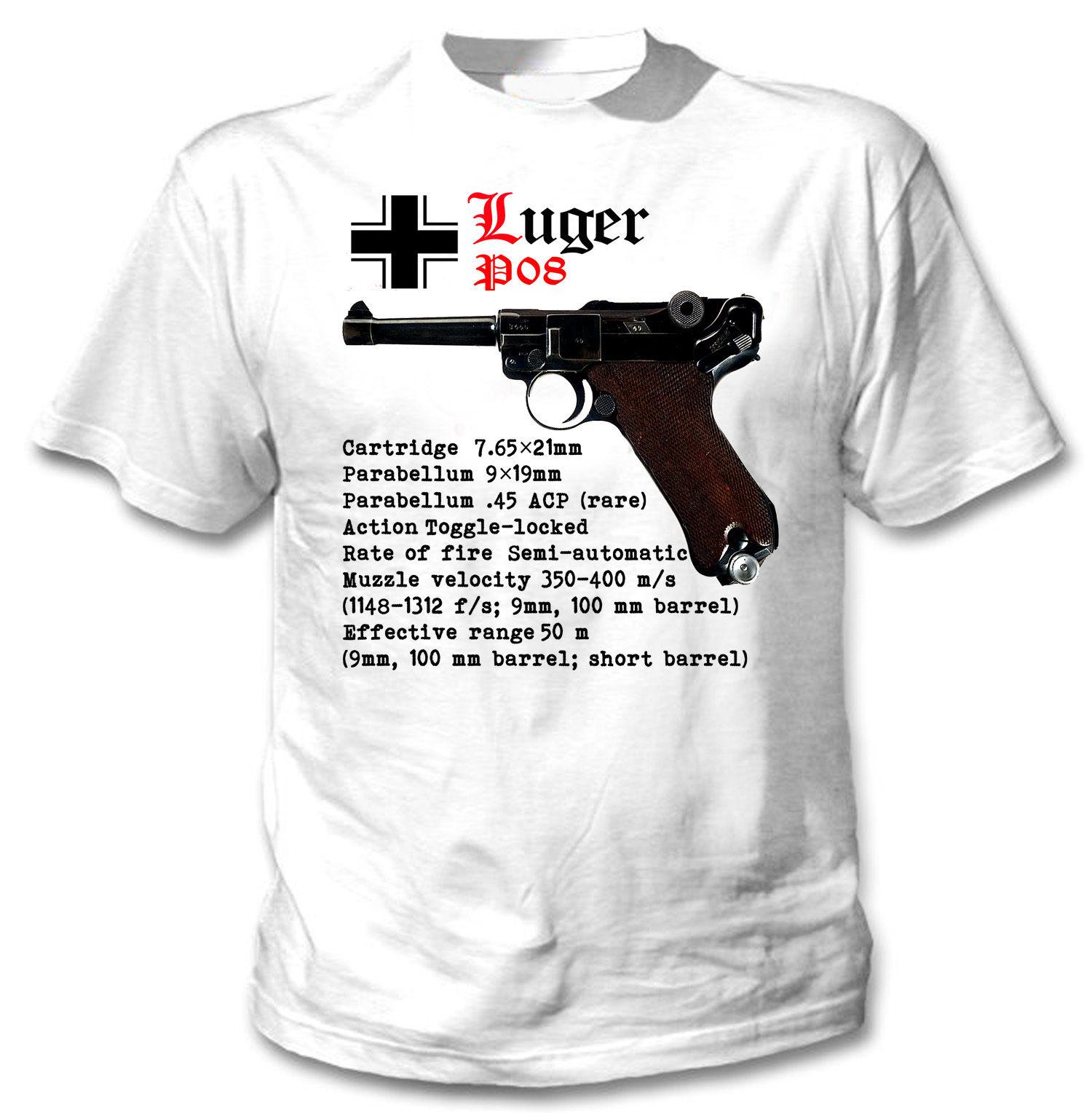 Мужская футболка с коротким рукавом Luger P08, летняя хлопковая Футболка в стиле хип-хоп, Германия