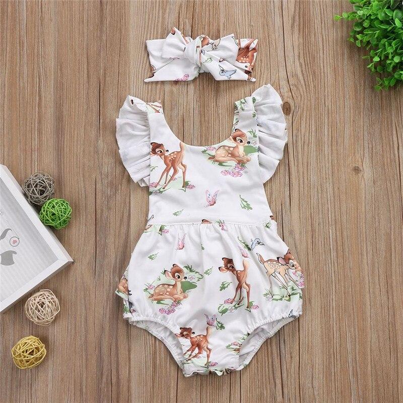 Летняя одежда для новорожденных девочек, 2 шт./компл., комбинезон-пачка с рукавами-крылышками и рисунком оленя + повязка на голову, пляжный костюм