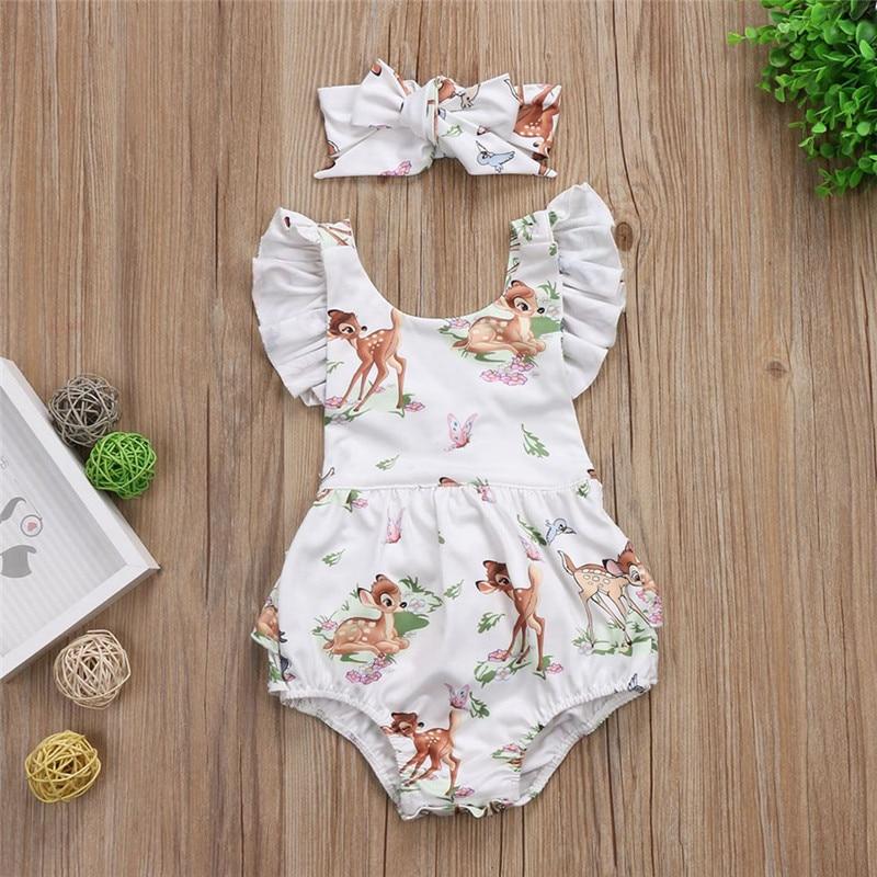 2PCS/Set Cute Summer Newborn Baby Girls Xmas Clothes Fly Sleeve Cartoon Deer Print Tutu Romper Jumpsuit+Headband Outfits Sunsuit