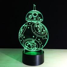 Star Wars BB8 Sphero droïde 3D jouet léger BB-8 Robot Star Wars figurine jouet lampe 7 couleurs changeant jouets cadeau de noël