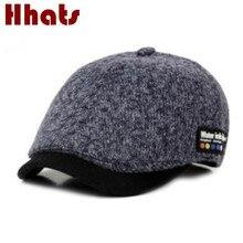 Chapeau de béret en laine pour femmes   Chapeau épais chaud tricoté, casquette plate pour hommes femmes, casquette à visière, os
