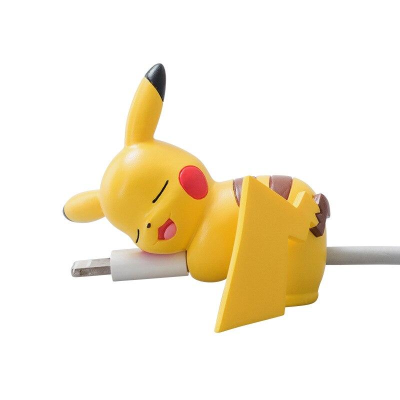 1pc mini bonito pikachu eevee meowth cabo mordida animal cabo protetor de cabo para iphone android brinquedos pequenos amarelos pet shop brinquedos para criança