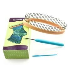 Diy casa simples de plástico meia tecelão fio cachecol artesanal tricô tear conjunto costura artesanato chapéu tecelagem ferramentas agulha acessórios