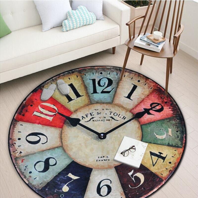 LIU Retro reloj puerta de entrada redonda alfombra para sala de estar niños tapete alfombra dormitorio baño alfombra redonda cocina almohadilla ventana