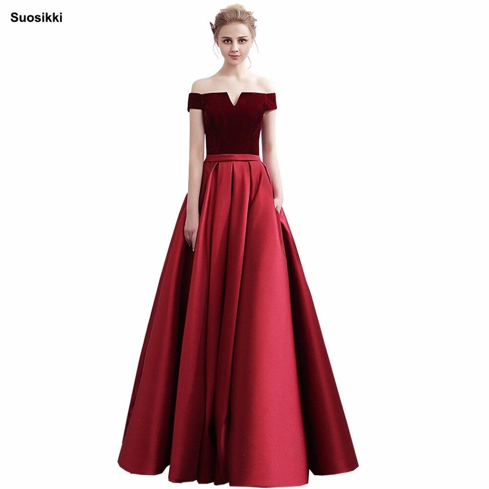 Suosikki banquete Simple elegante vestido De noche novia barco cuello terciopelo con satén Vintage largo vestido formal De graduación Robe De Soiree