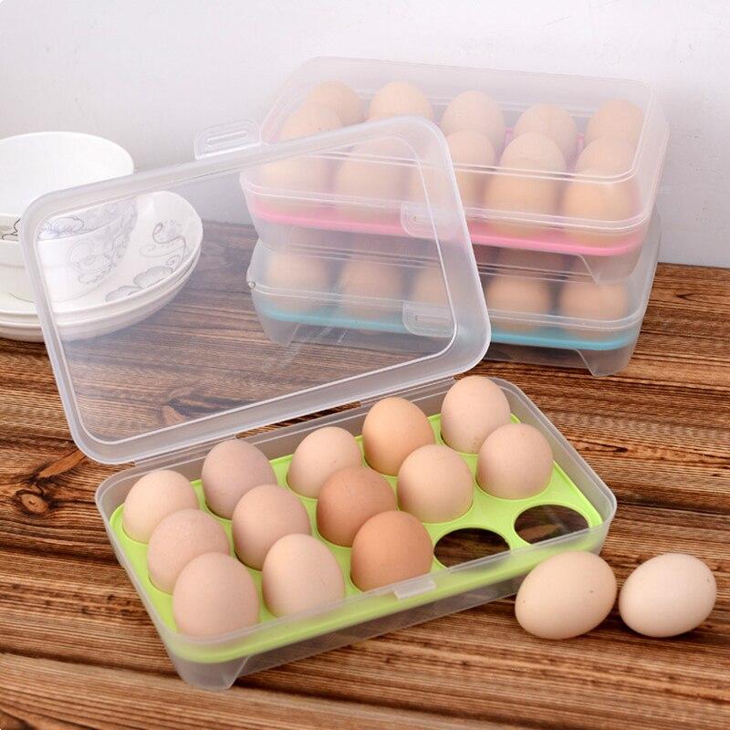 Caja de almacenamiento Anticolisión de 15 huevos de estilo japonés, bandeja portátil para huevos
