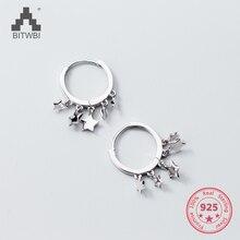 S925 silver stars earrings female Japanese style simple five-pointed star tassel short earrings temperament earrings