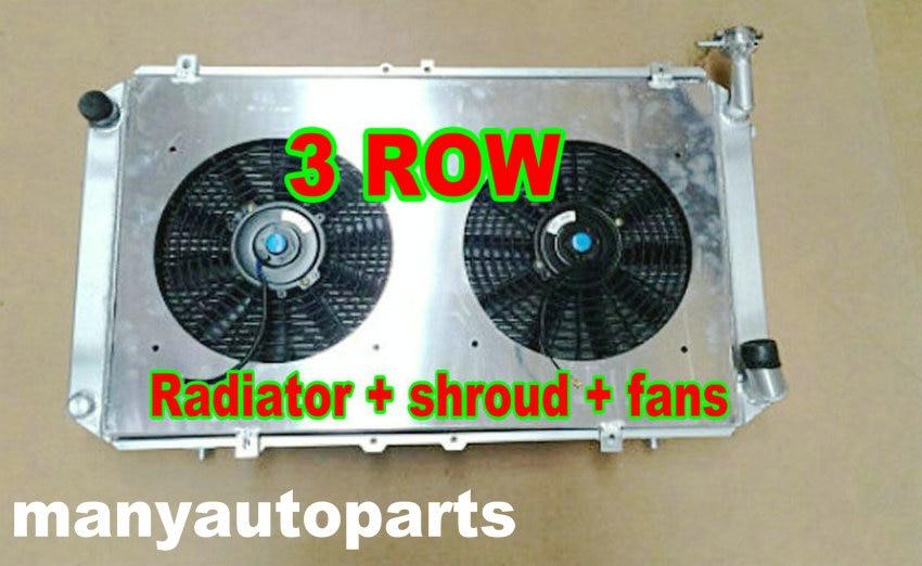 Aluminum Radiator +Shroud+Fans FOR Nissan Patrol Y60 GQ 4.2L TB42S Petrol 1987-1997